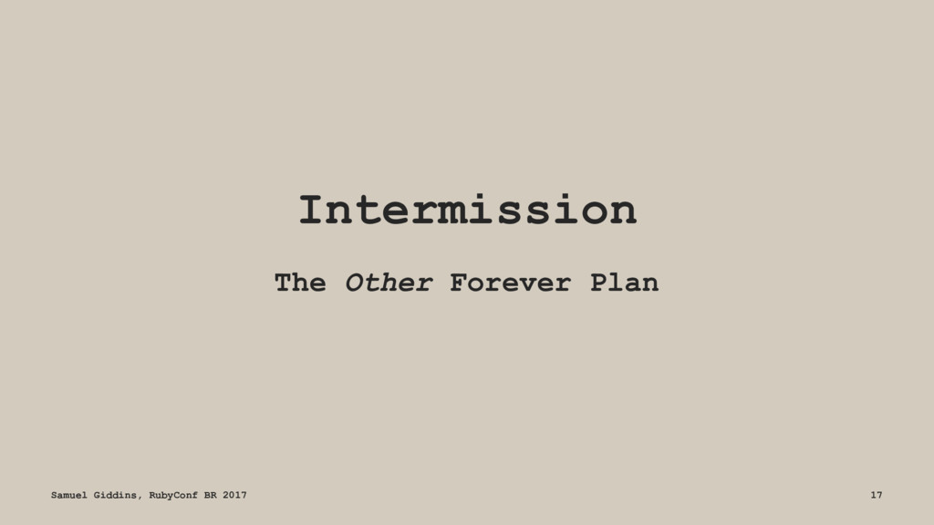 Intermission The Other Forever Plan Samuel Gidd...