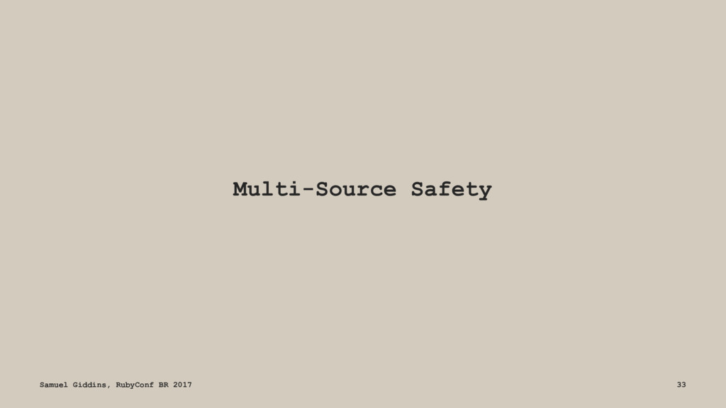 Multi-Source Safety Samuel Giddins, RubyConf BR...