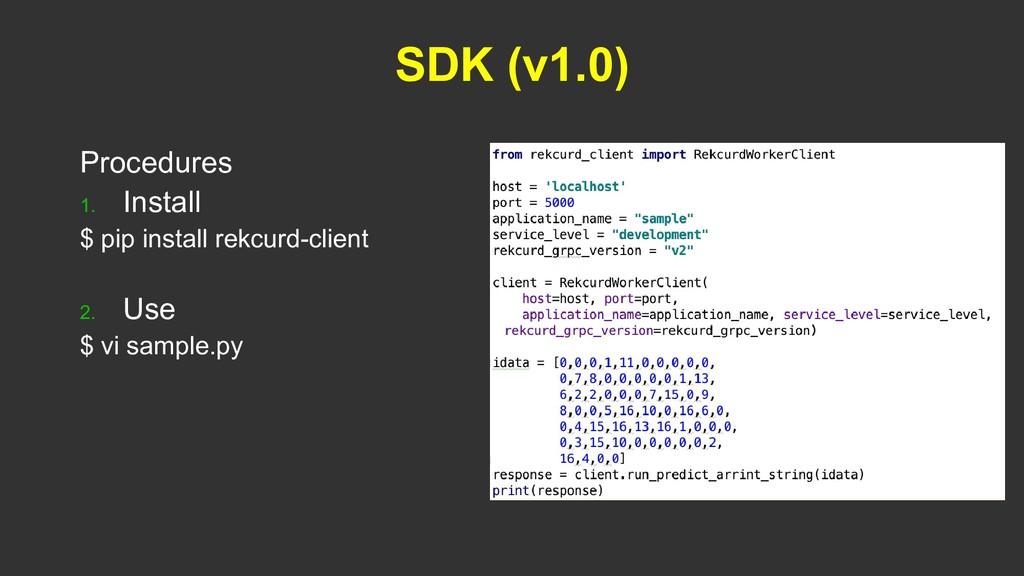 SDK (v1.0) Procedures 1. Install $ pip install ...