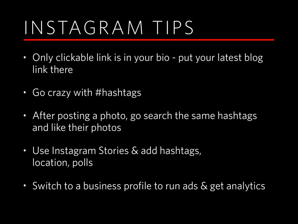 INSTAGRAM TIPS • Only clickable link is in your...