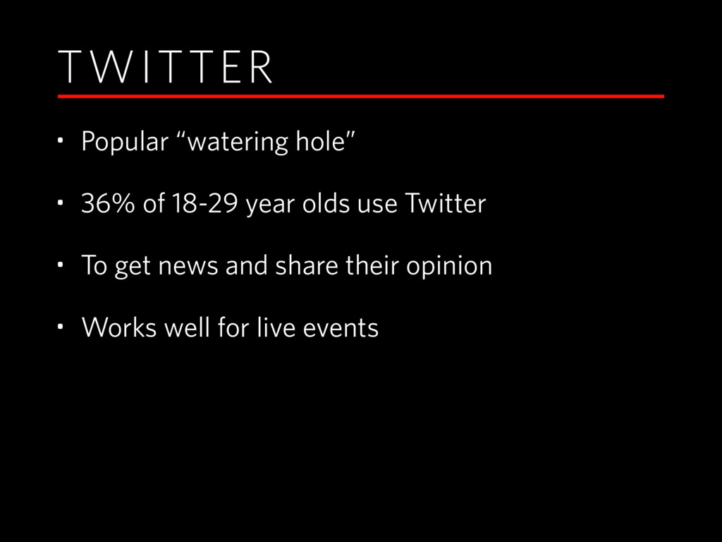 "TWITTER • Popular ""watering hole"" • 36% of 18-2..."