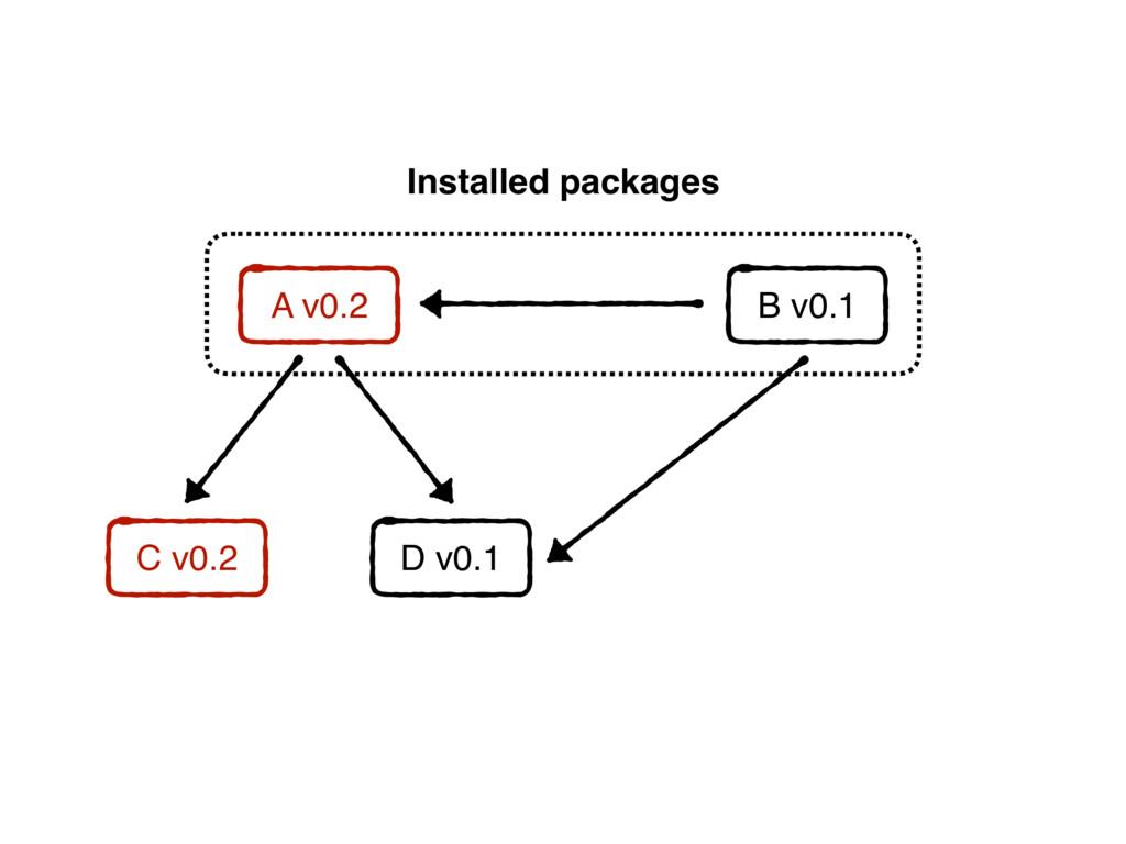 A v0.2 C v0.2 B v0.1 Installed packages D v0.1