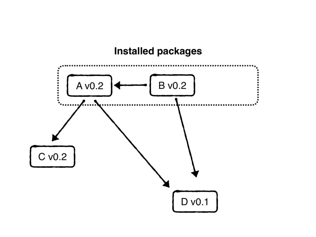 Installed packages D v0.1 A v0.2 C v0.2 B v0.2