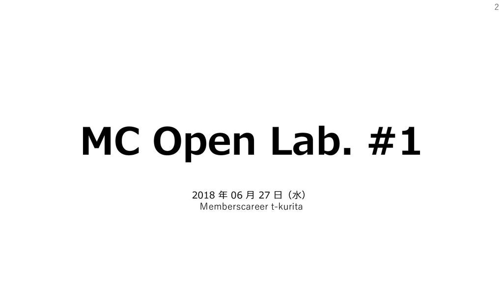 2 MC Open Lab. #1 2018 年 06 月 27 日(水) Membersca...