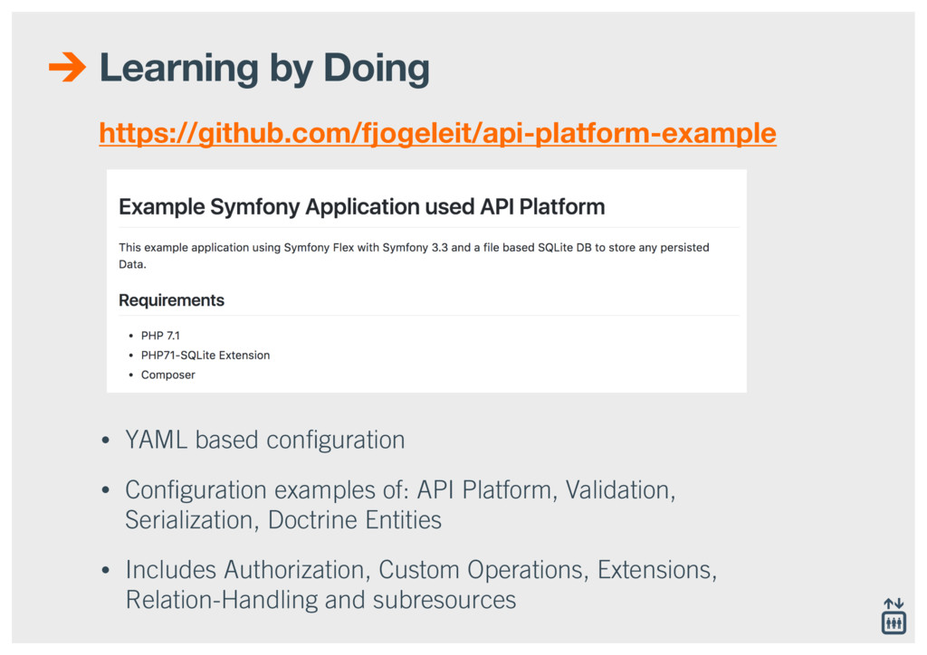 Learning by Doing • YAML based configuration • C...