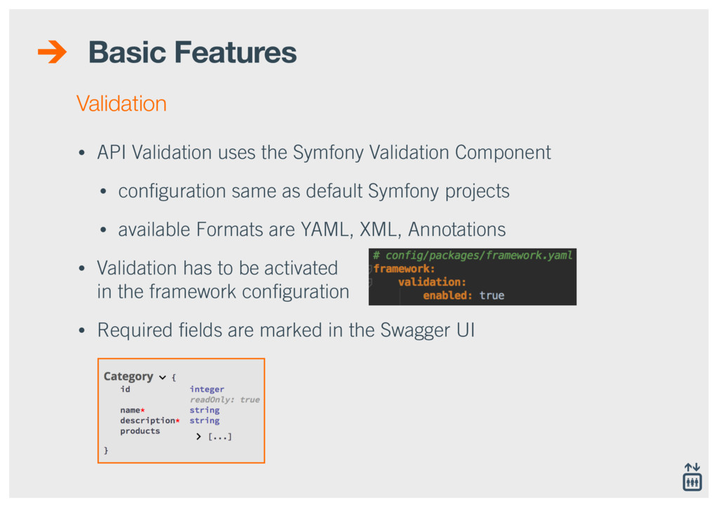 Basic Features • API Validation uses the Symfon...