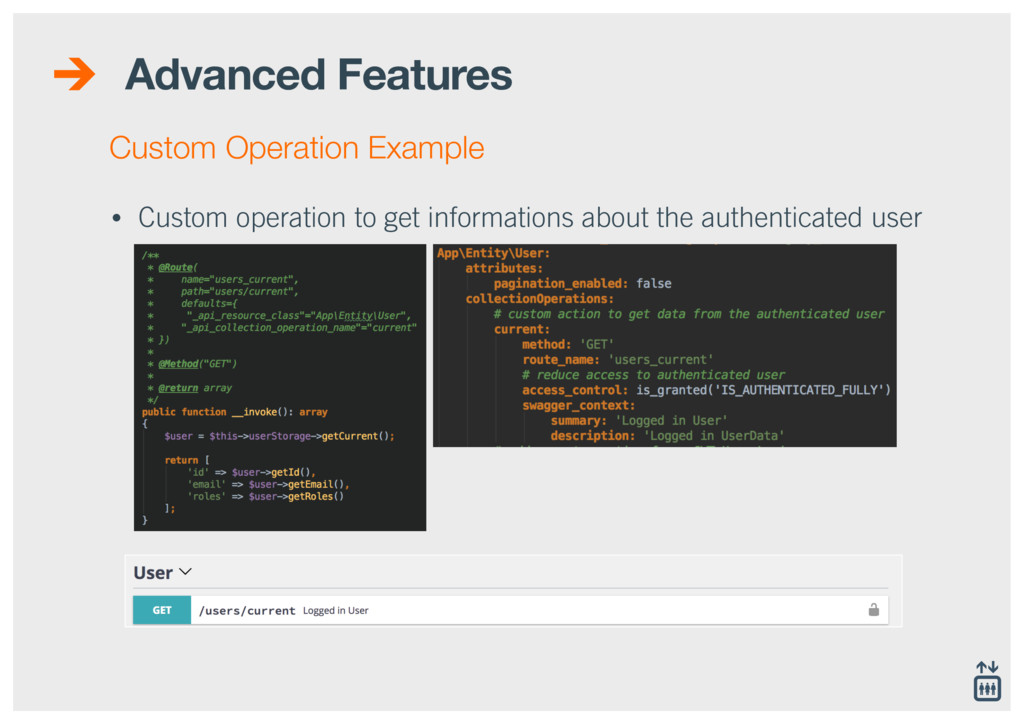 Advanced Features • Custom operation to get inf...