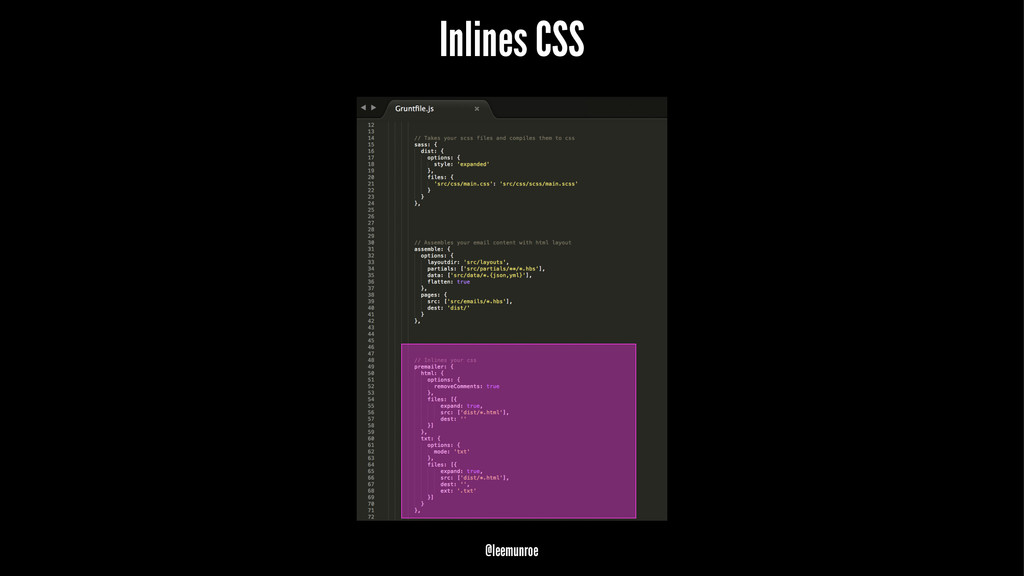 Inlines CSS @leemunroe