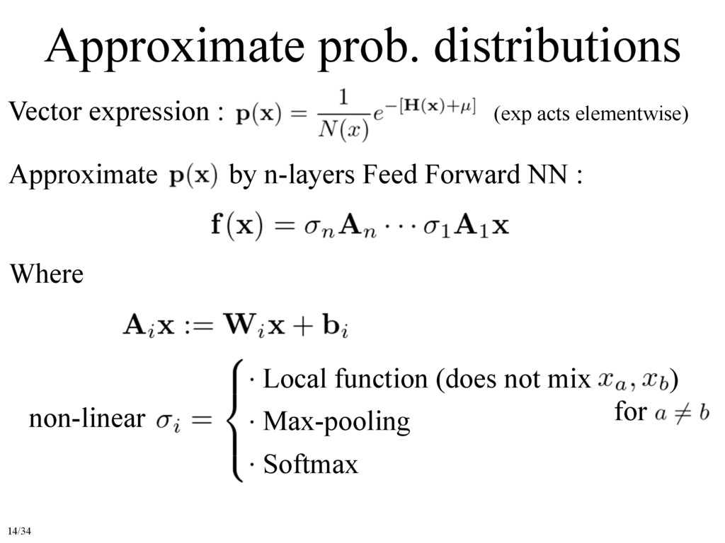 Approximate prob. distributions Vector expressi...