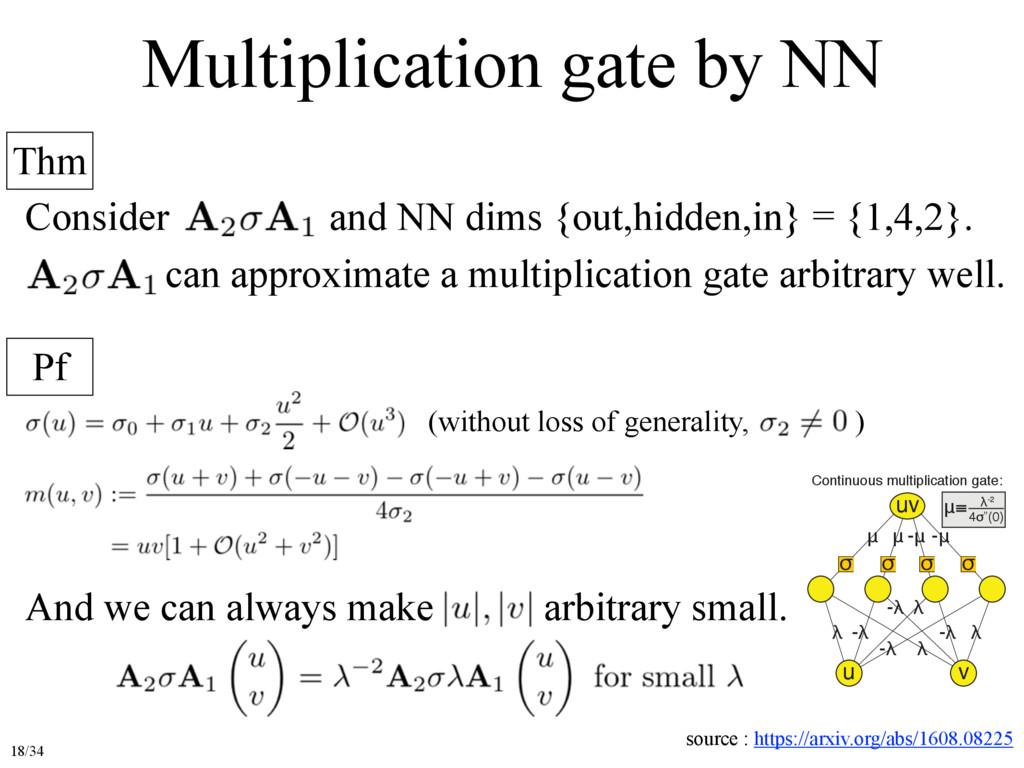 Multiplication gate by NN Thm Pf Consider and N...