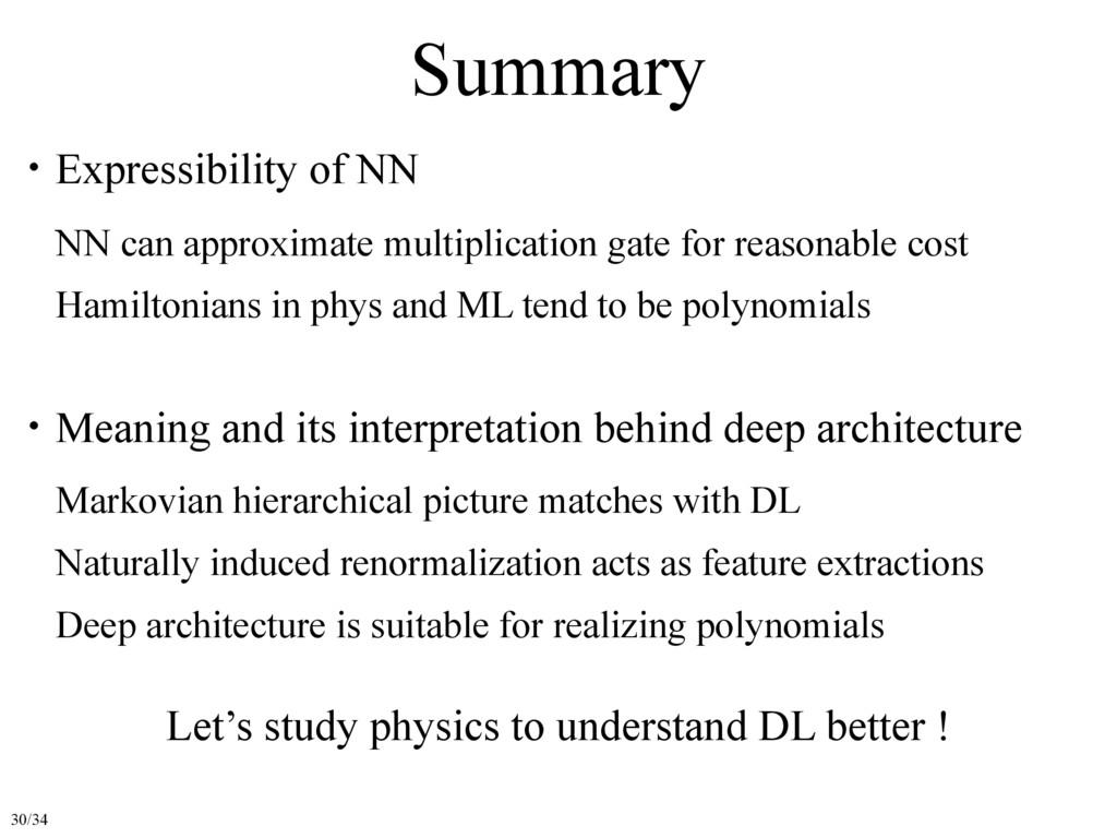 Summary ɾExpressibility of NN ɹNN can approxima...