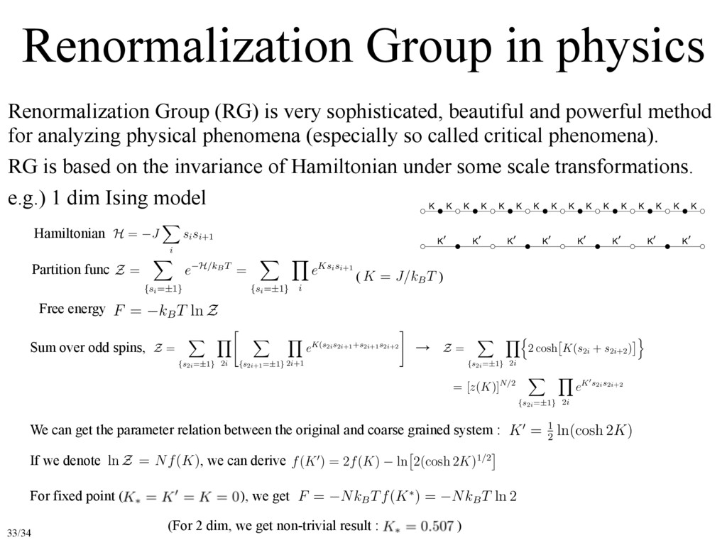 Renormalization Group in physics Renormalizatio...