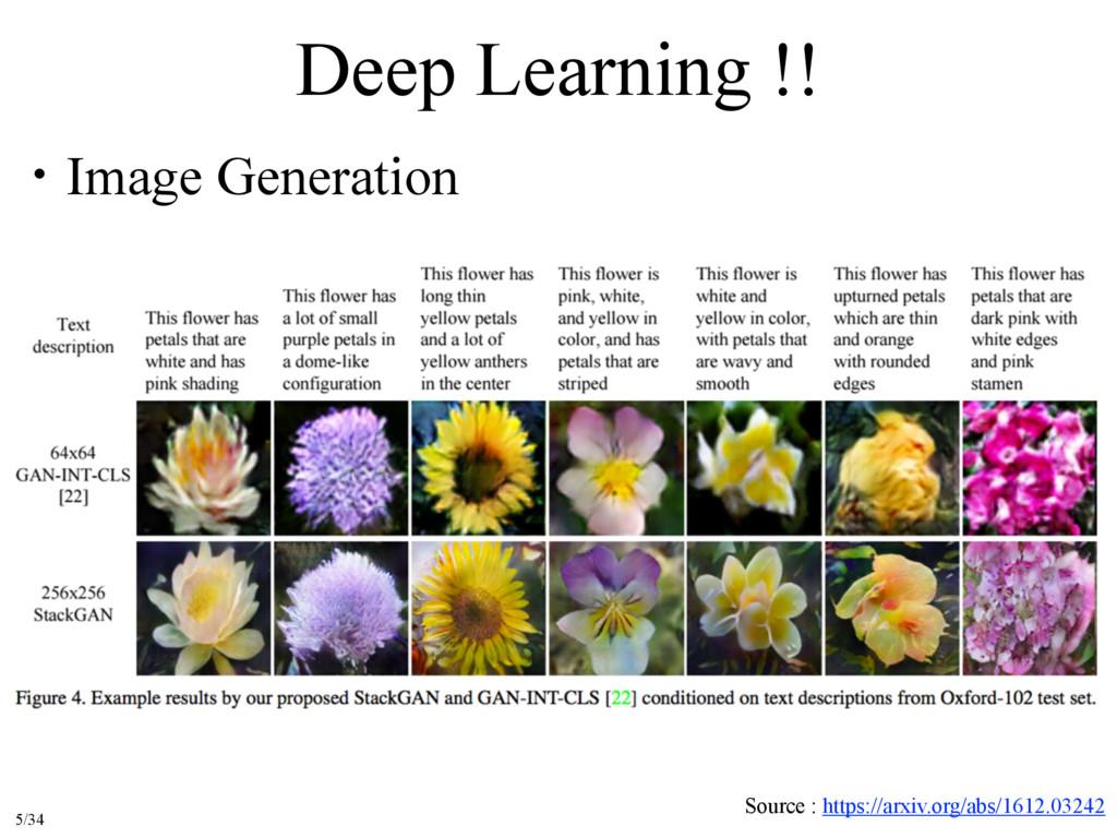 Deep Learning !! ɾImage Generation Source : htt...