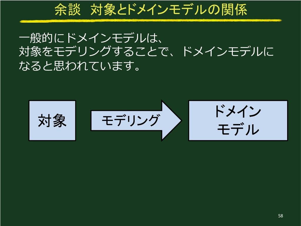 余談 対象とドメインモデルの関係 一般的にドメインモデルは、 対象をモデリングすることで、ドメ...