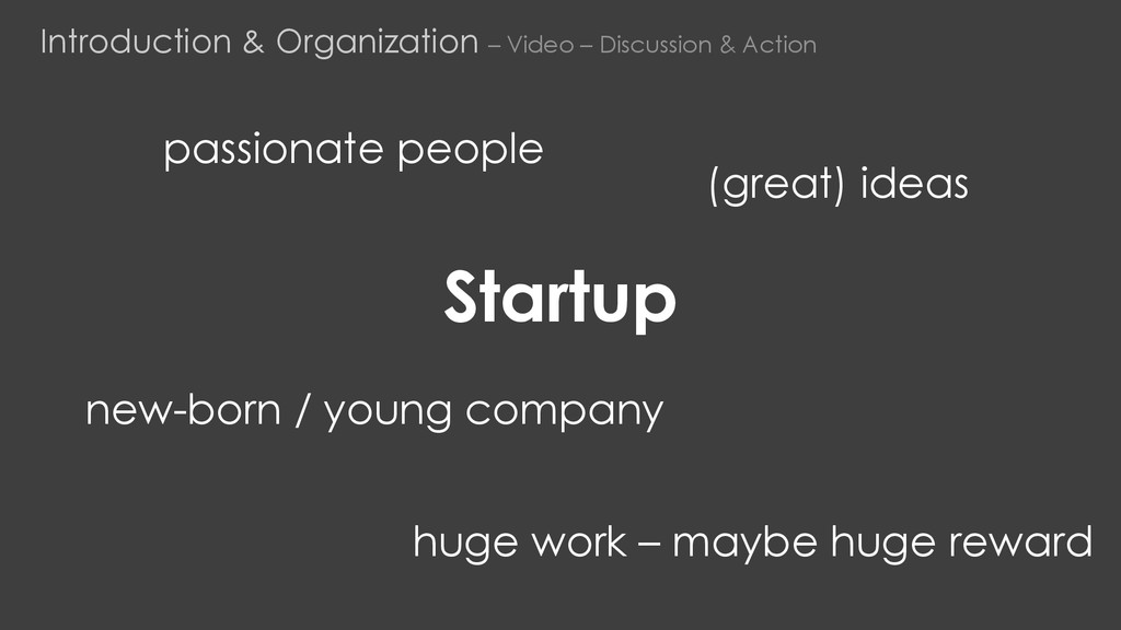 Startup new-born / young company (great) ideas ...
