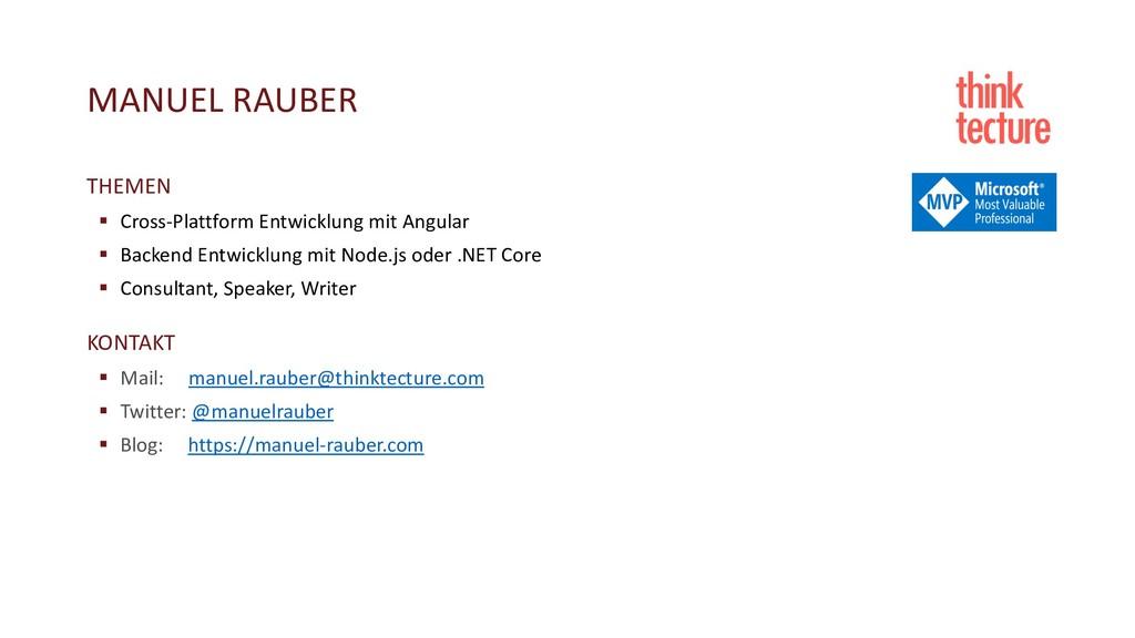 MANUEL RAUBER THEMEN § Cross-Plattform Entwickl...