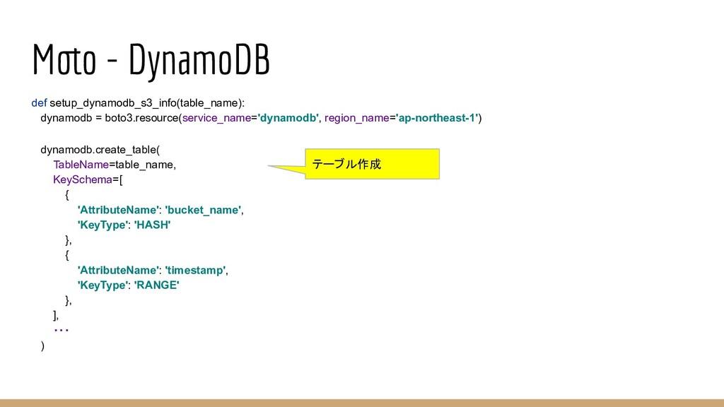 Moto − DynamoDB def setup_dynamodb_s3_info(tabl...