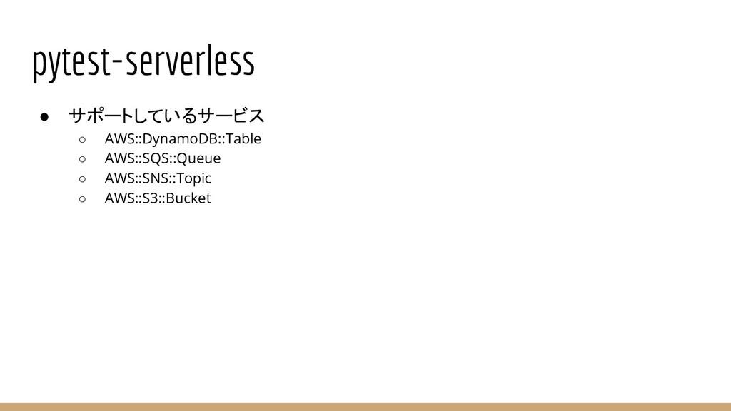 pytest-serverless ● サポートしているサービス ○ AWS::DynamoD...