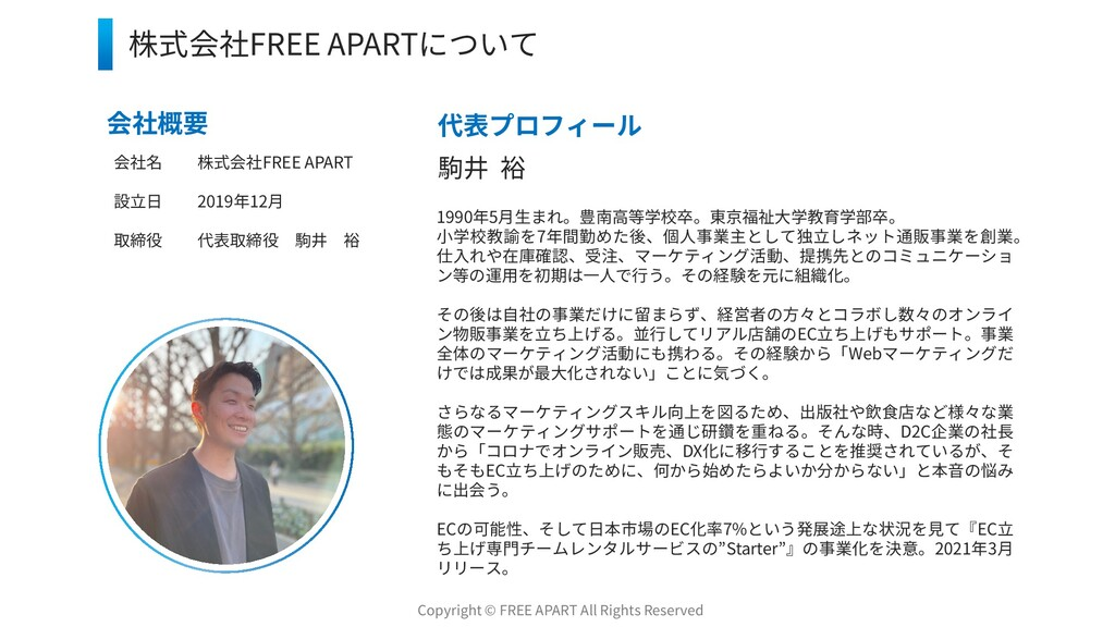 1 株式会社FREE APARTについて 会社概要 会社名 株式会社FREE APART 設立...