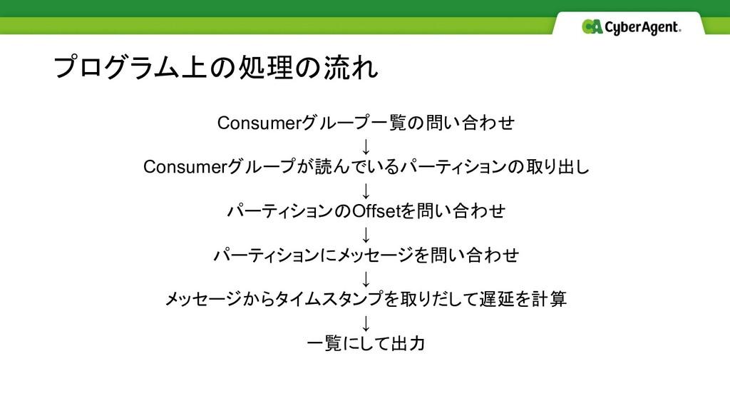 Consumerグループ一覧の問い合わせ ↓ Consumerグループが読んでいるパーティショ...
