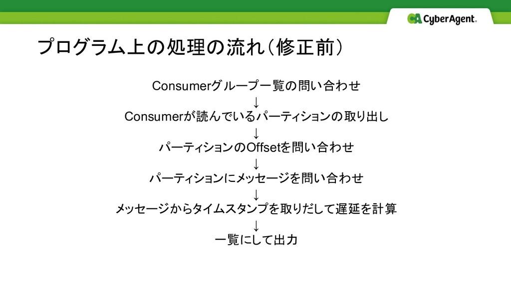 Consumerグループ一覧の問い合わせ ↓ Consumerが読んでいるパーティションの取り...
