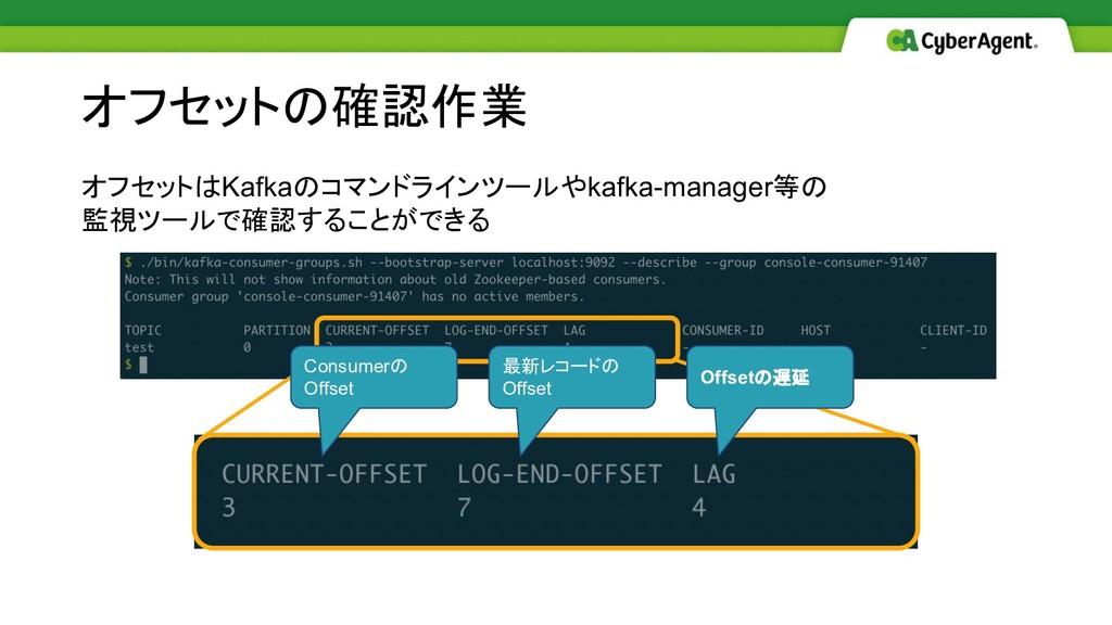 オフセットはKafkaのコマンドラインツールやkafka-manager等の 監視ツールで確認...