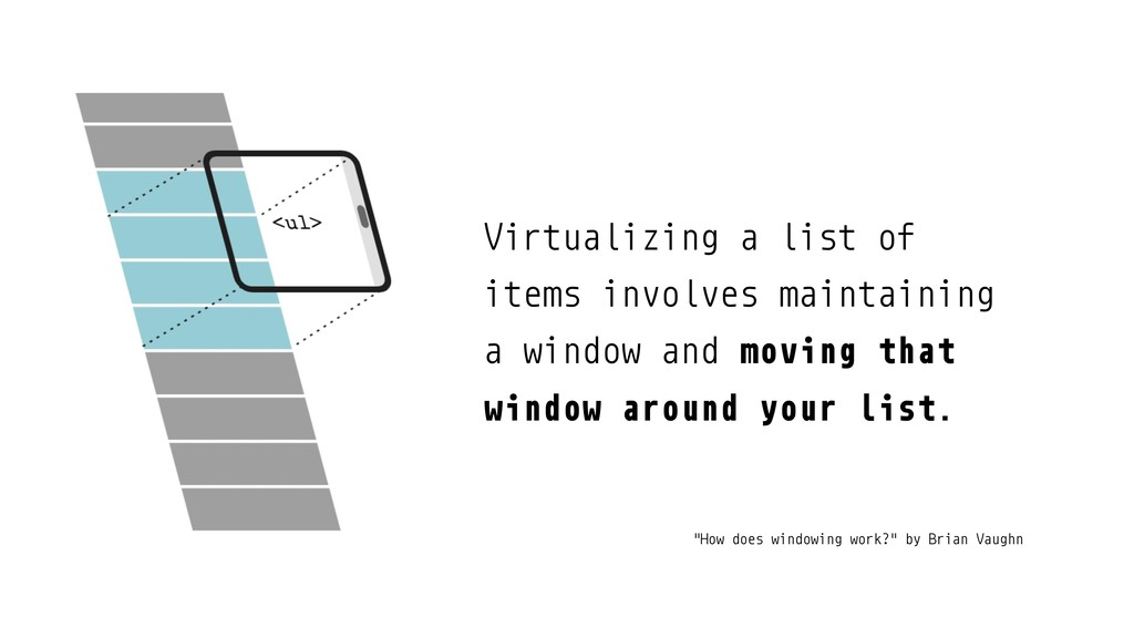 Virtualizing a list of items involves maintaini...