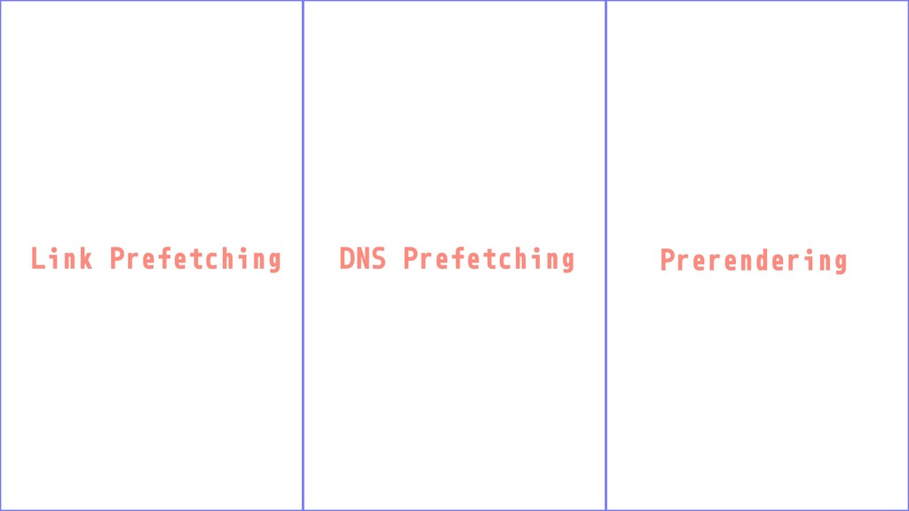 Link Prefetching DNS Prefetching Prerendering