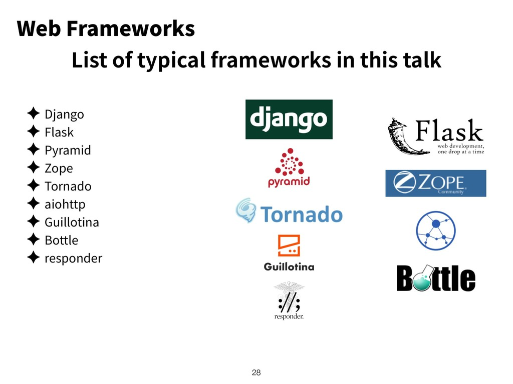 Web Frameworks ✦ Django ✦ Flask ✦ Pyramid ✦ Zop...