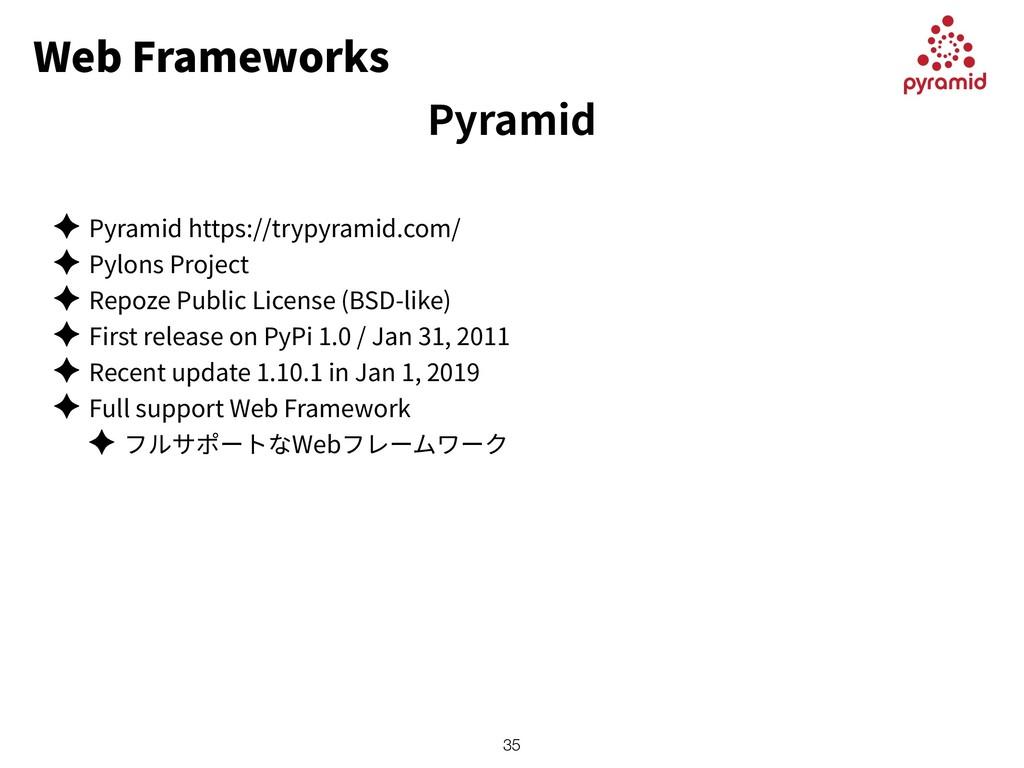 Web Frameworks ✦ Pyramid https://trypyramid.com...