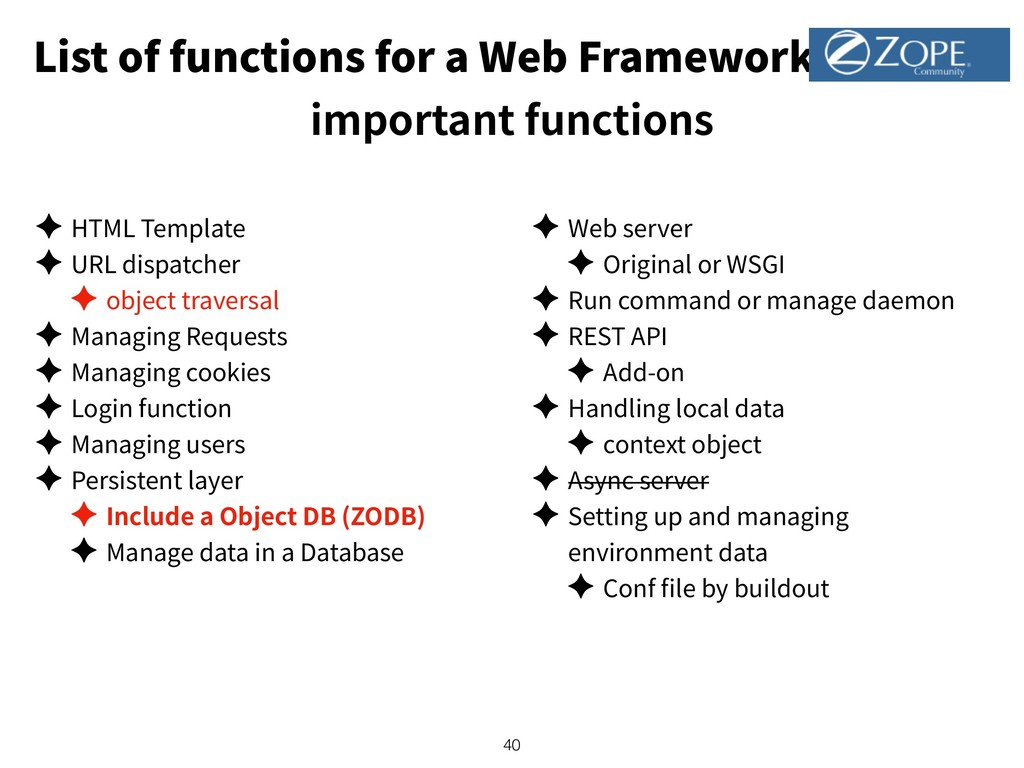 List of functions for a Web Framework important...