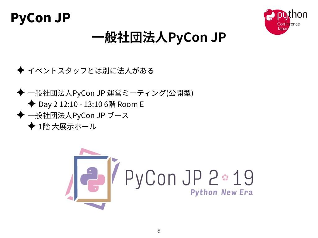 PyCon JP ✦ ✦ PyCon JP ( ) ✦ Day 2 12:10 - 13:10...