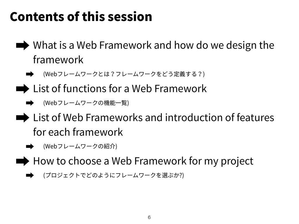 Contents of this session What is a Web Framewor...