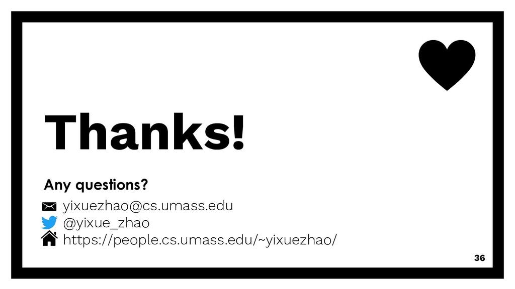 Thanks! 36 Any questions? yixuezhao@cs.umass.ed...