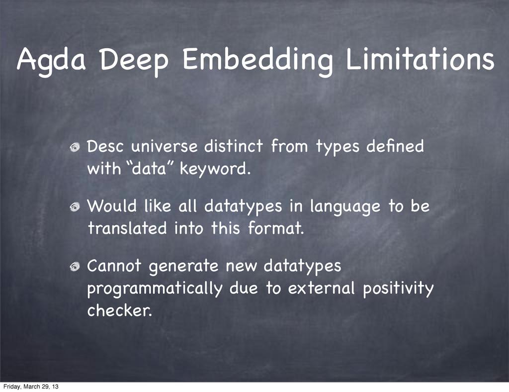 Agda Deep Embedding Limitations Desc universe d...