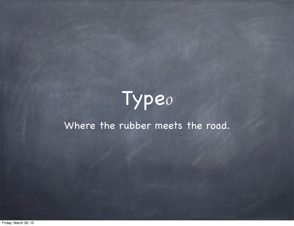 Type₀ Where the rubber meets the road. Friday, ...