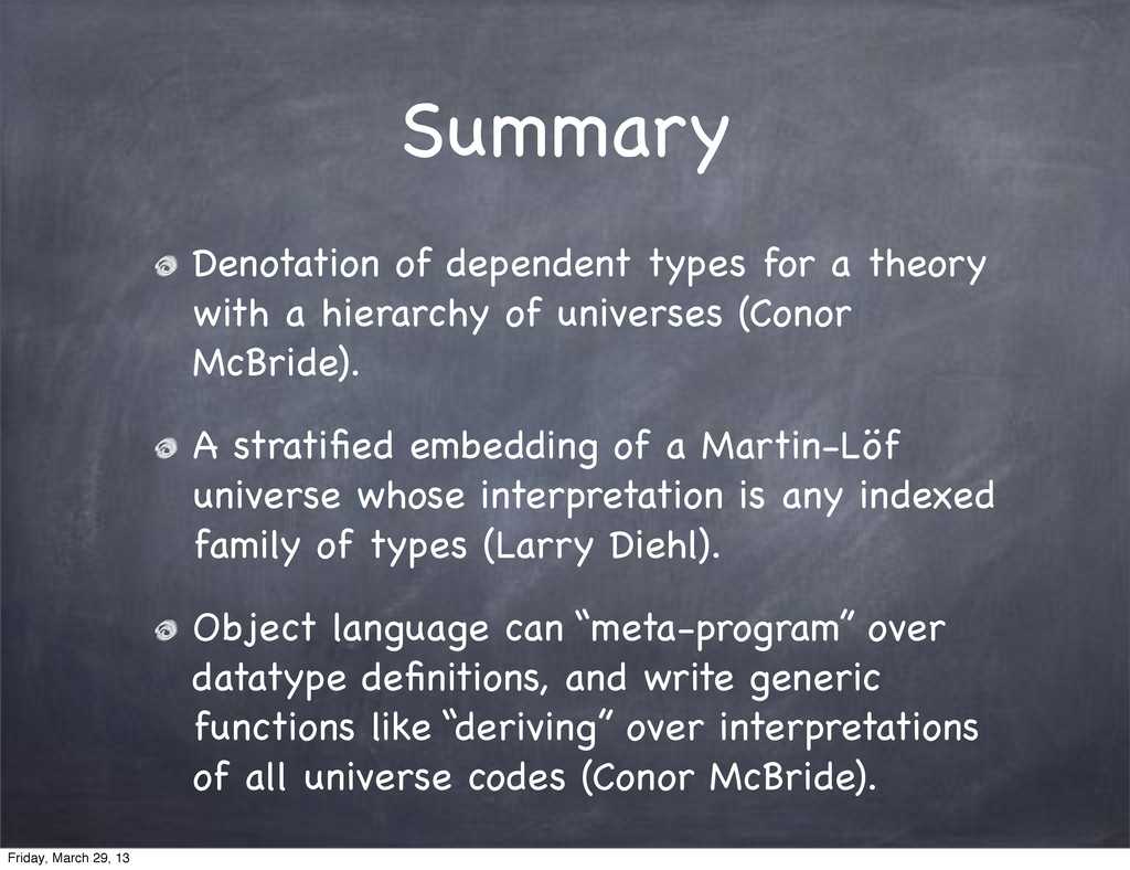 Summary Denotation of dependent types for a the...