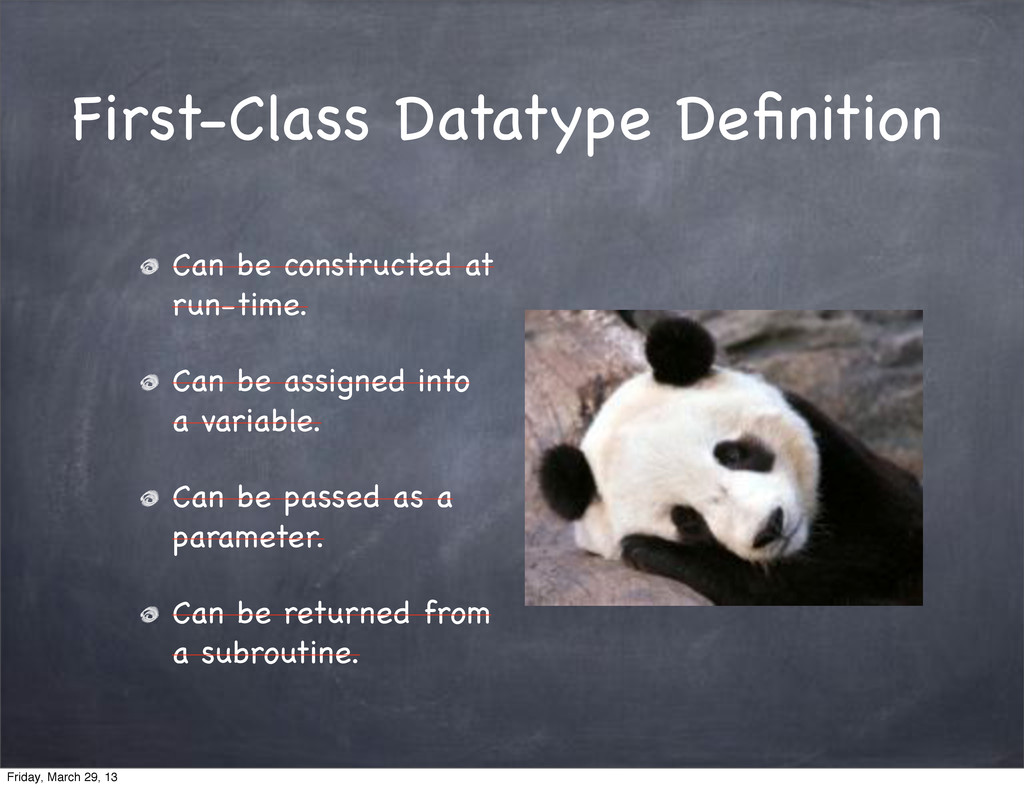 First-Class Datatype Definition Can be construct...