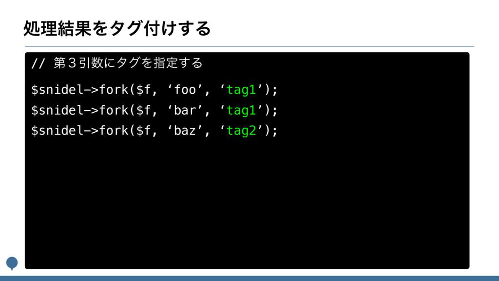 ॲཧ݁ՌΛλά͚͢Δ // ୈ̏ҾʹλάΛࢦఆ͢Δ $snidel->fork($f, '...