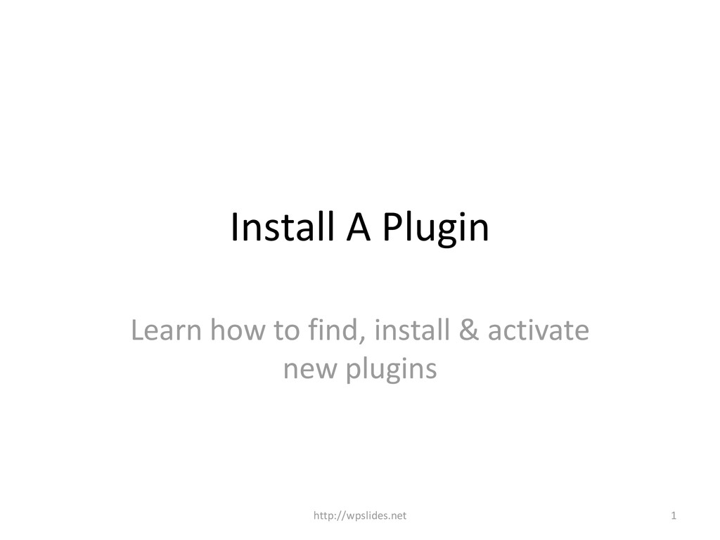 Install A Plugin Learn how to find, install & a...