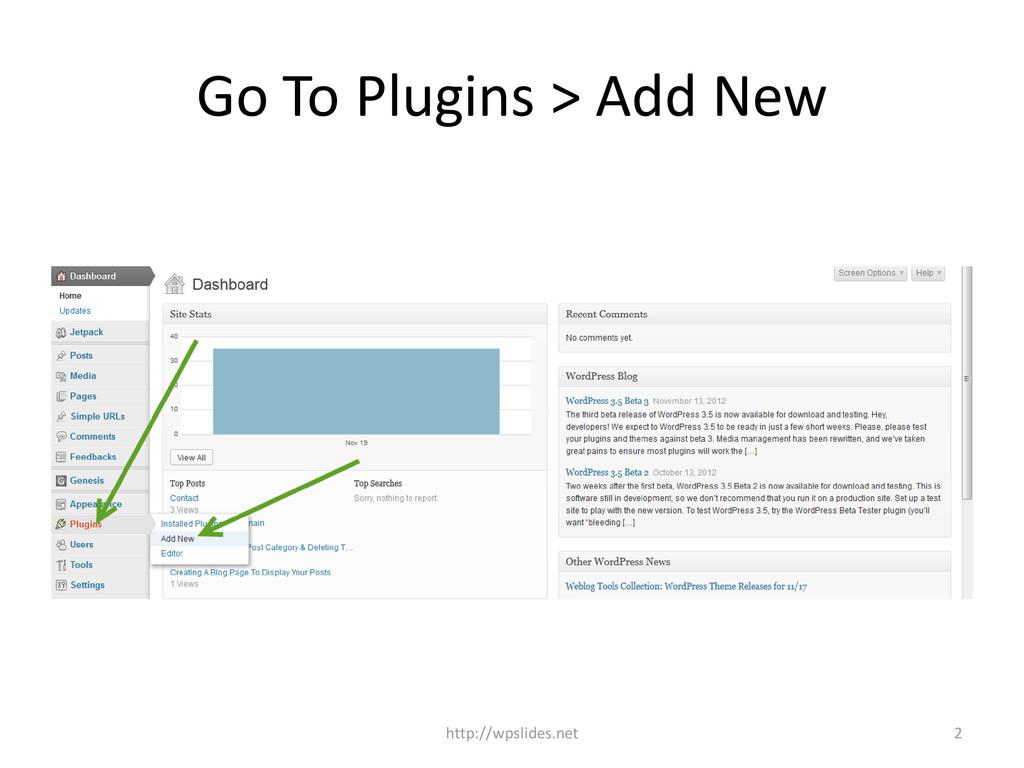 Go To Plugins > Add New 2 http://wpslides.net