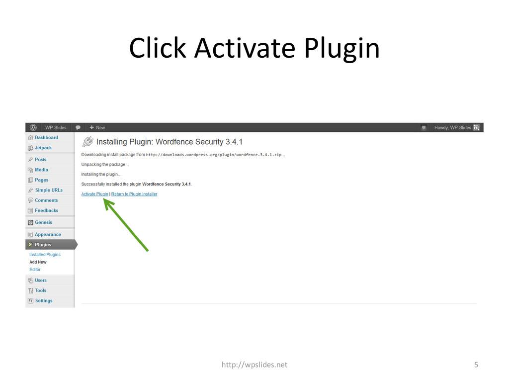 Click Activate Plugin http://wpslides.net 5