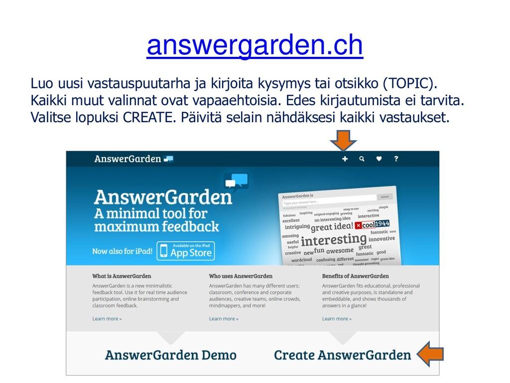 answergarden.ch Luo uusi vastauspuutarha ja kir...