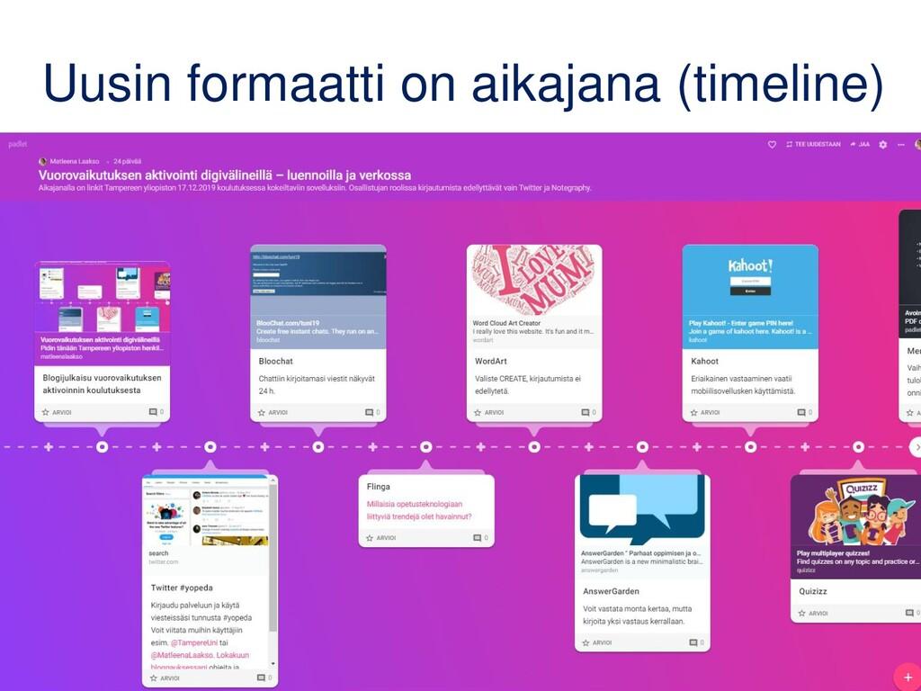 Uusin formaatti on aikajana (timeline)