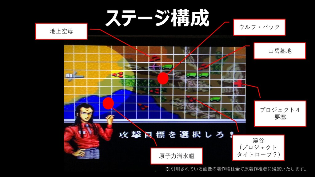 ステージ構成 ウルフ・パック 地上空⺟ 原⼦⼒潜⽔艦 渓⾕ (プロジェクト タイトロープ?) ...