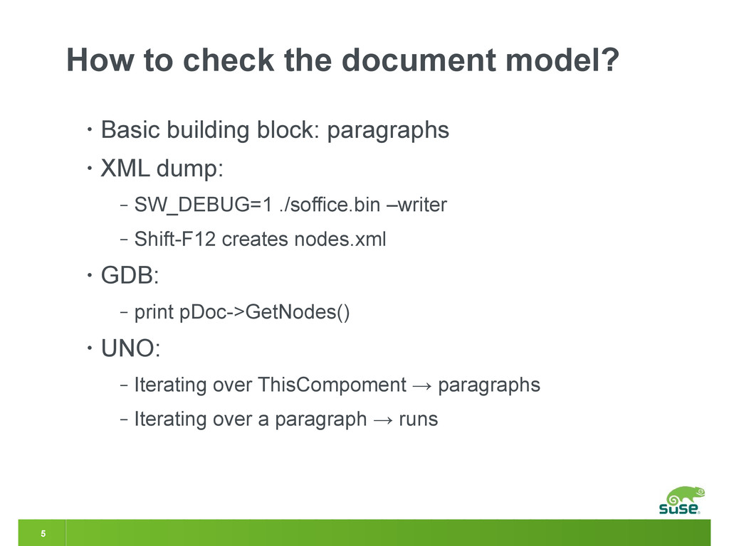 5 How to check the document model? • Basic buil...