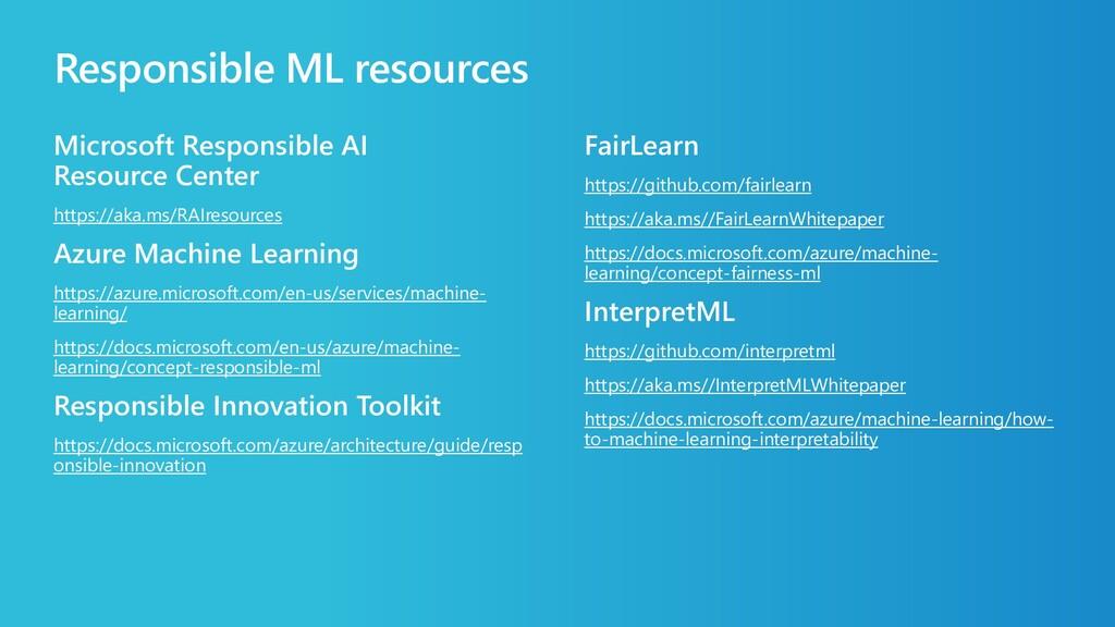 Responsible ML resources Microsoft Responsible ...