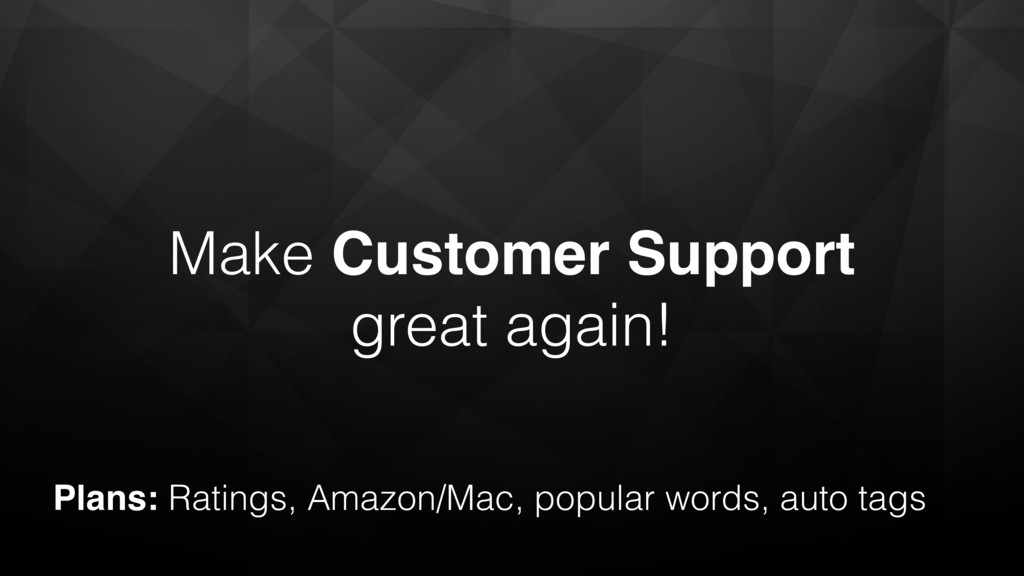 Make Customer Support great again! Plans: Ratin...