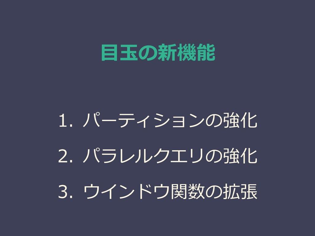 目玉の新機能 1. パーティションの強化 2. パラレルクエリの強化 3. ウインドウ関数の拡張