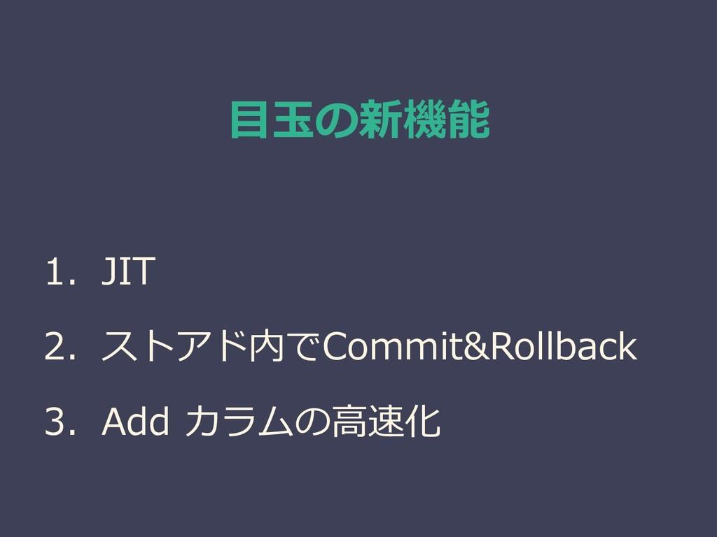 目玉の新機能 1. JIT 2. ストアド内でCommit&Rollback 3. Add カ...